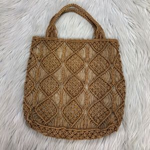 Vintage Hand-Woven Straw Tote Bag